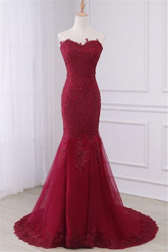 Long Prom Dresses, Lace Prom Dresses, Mermaid Party Prom Dresses, Sleeveless