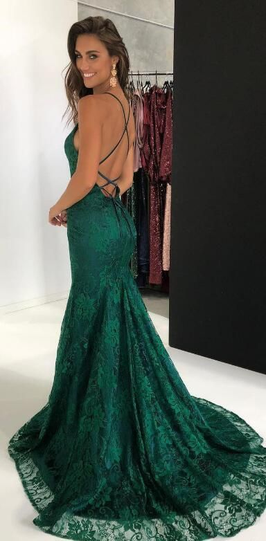3bc07e90a4c hunter green mermaid lace long prom dress