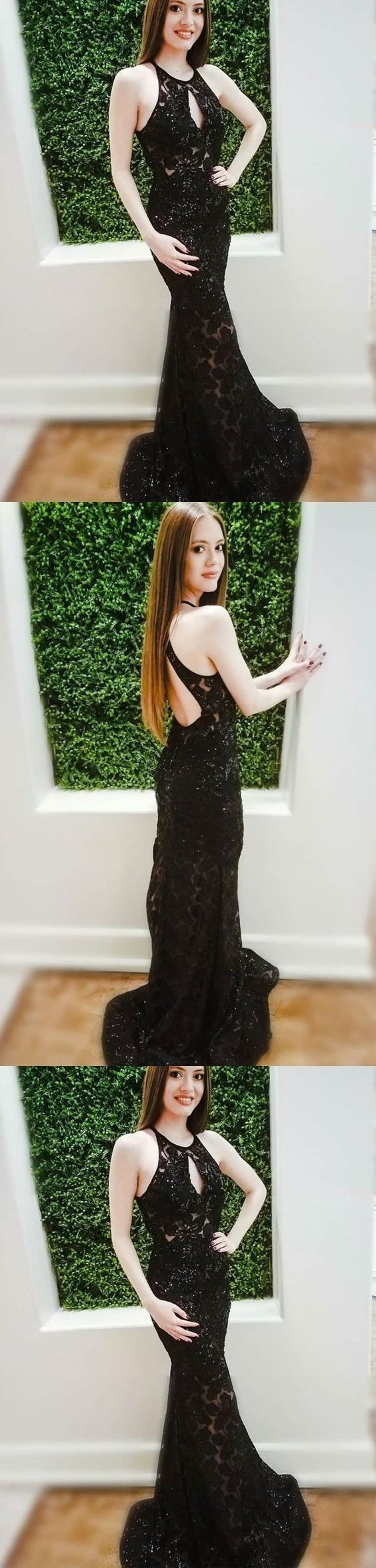 Halter Black Lace Mermaid Custom Long Evening Prom Dresses