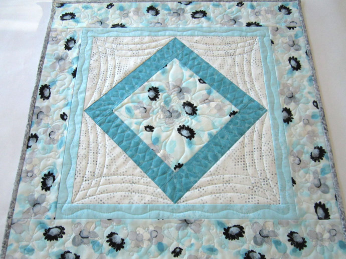 Aqua Table Topper Quilted Tabletop Handmade Table Quilt Square Table Linen
