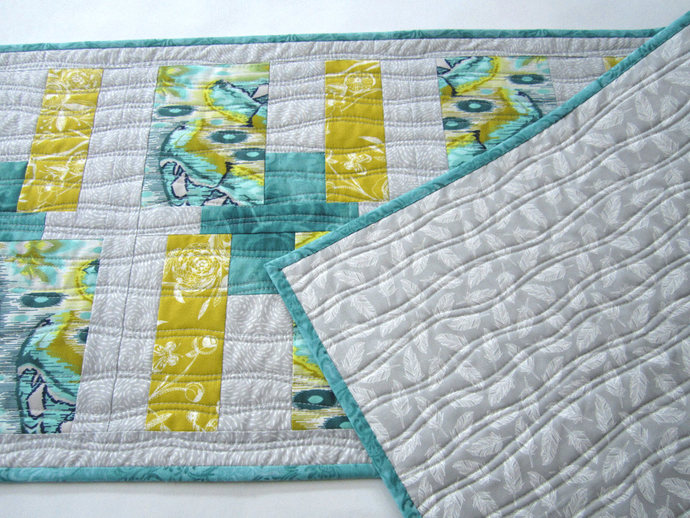 Table Runner Handmade Quilted Contemporary Geometric Modern Gifts for Her