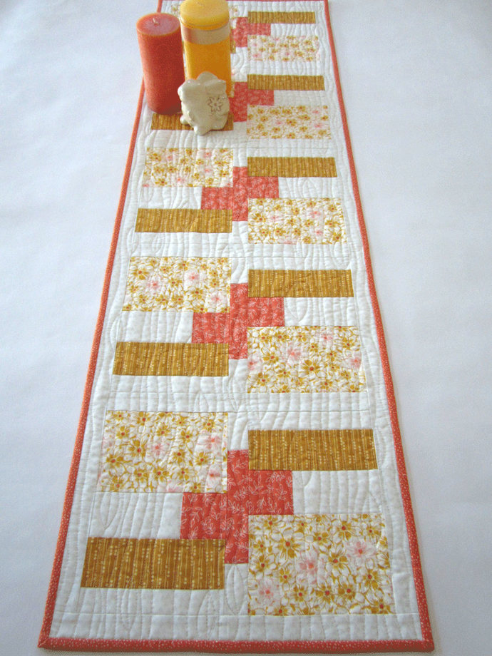 Table Runner Modern Handmade Quilted Contemporary Geometric Mother's Day Gifts