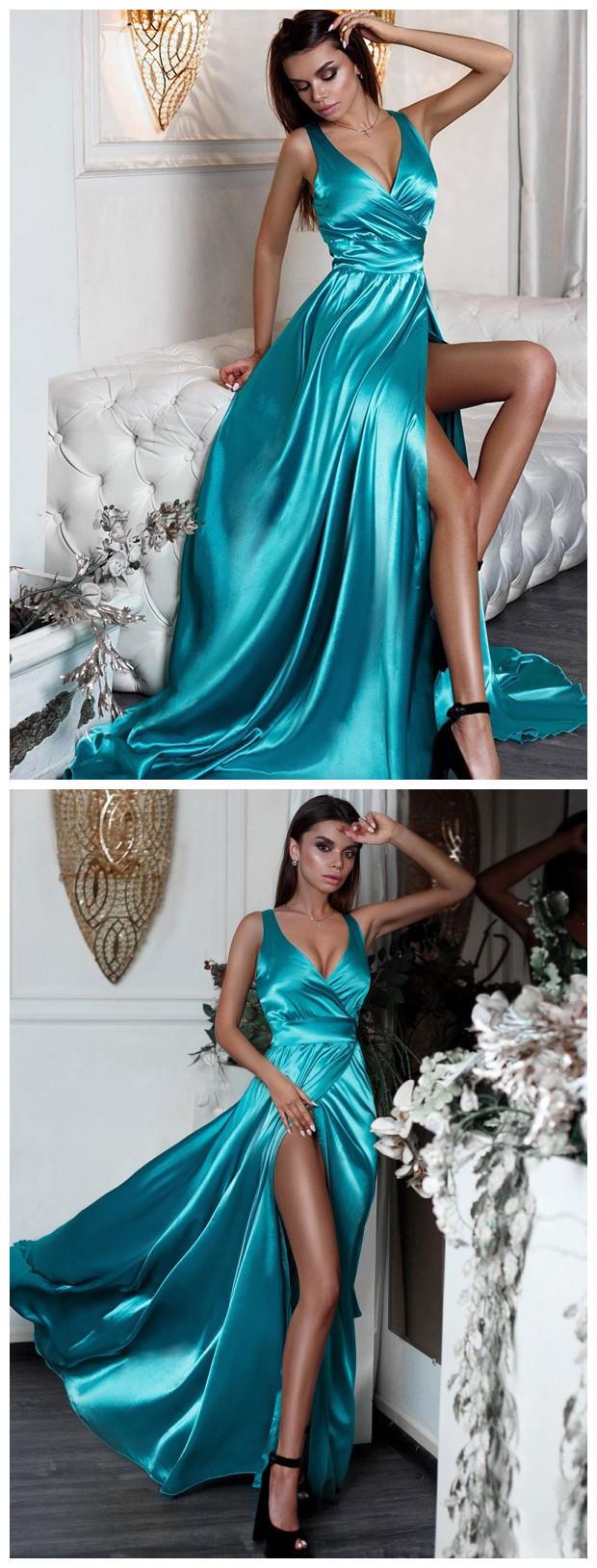Sexy Split Long Prom Dresses Turquoise V-Neck Formal Evening Dress with Slit