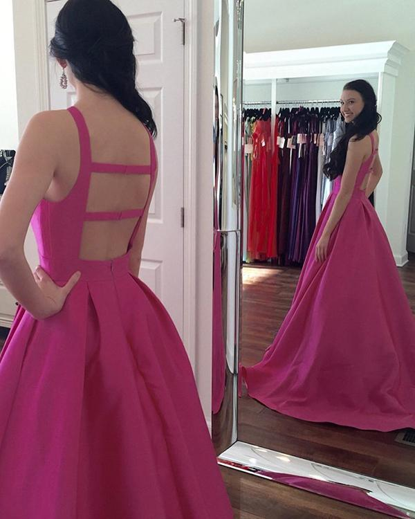 Elegant Hot Pink Prom Dresses Satin Ball Gown by prom dresses on