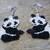 Panda Bear Earrings Hand Made Seed Beaded