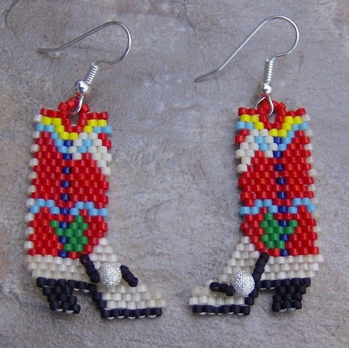 Cowboy Boot Earrings Hand Made Seed Beaded