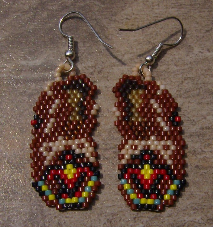 Brown Mocassins Earring Hand Made Seed Beaded
