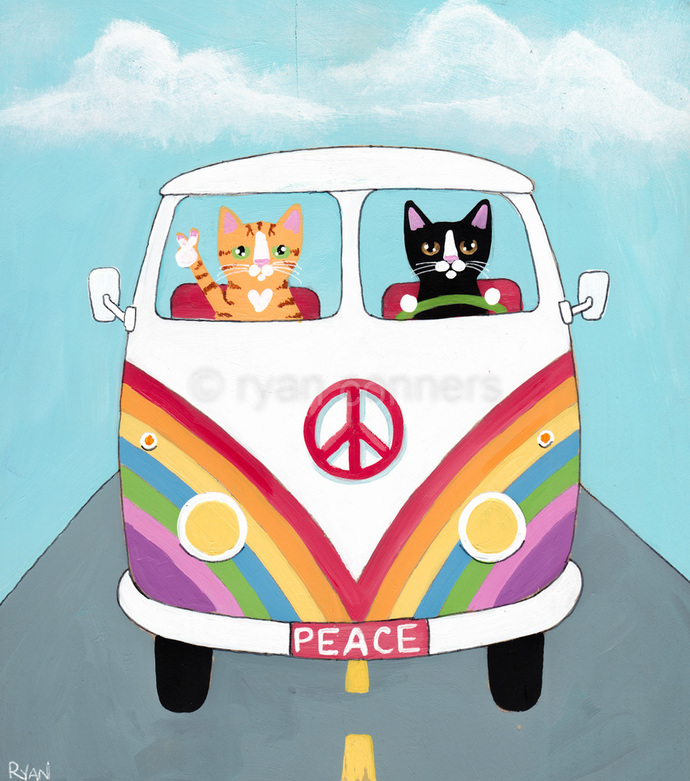 Hippie Bus Road Trip Original Cat Folk Art Painting