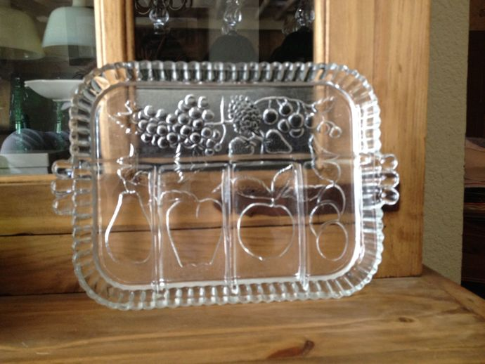 1960s Indiana Glass Fruits Clear Divided Relish Tray