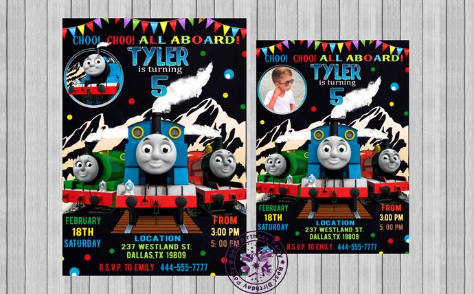 Thomas the train birthday invitations by BestBirthdayParty on Zibbet