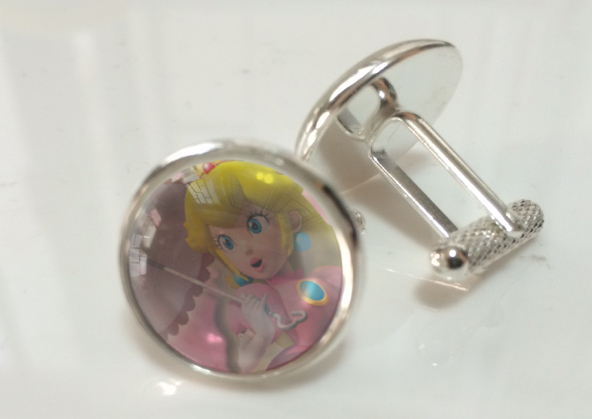 Mario Princess Peach Crystal Cufflinks