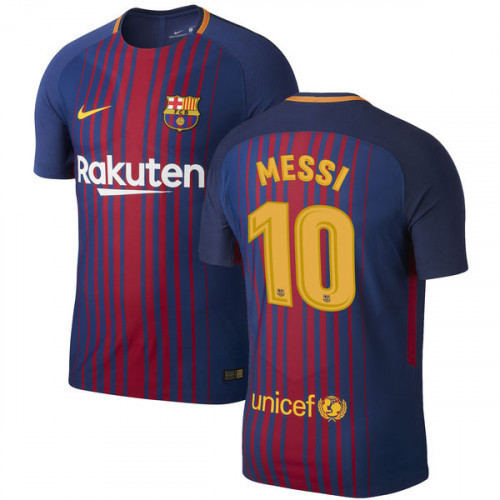 Men's FC Barcelone #10 MESSI SOCCER 2017-2018 Home Jersey -Blue/Red