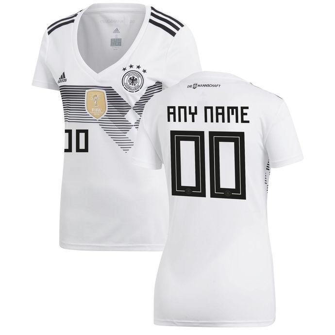 Women's Germany National Team Soccer 2018-2019 Home Blank Custom Jersey - White