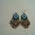 Native American Style Brick Stitched Geometric Earrings in Copper, Azure Blue