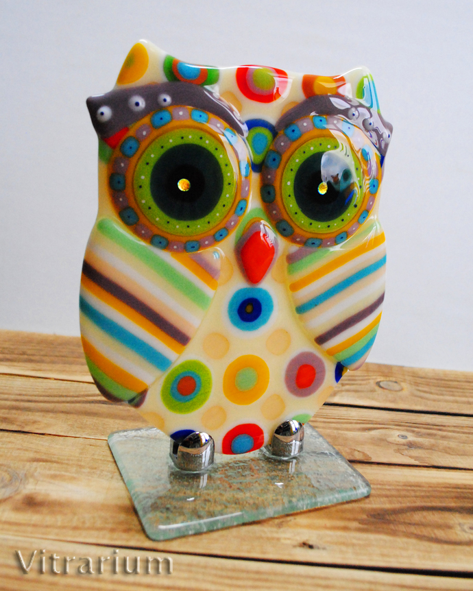owl  abstract fused glass art  fused glass  art by vitrarium on zibbet