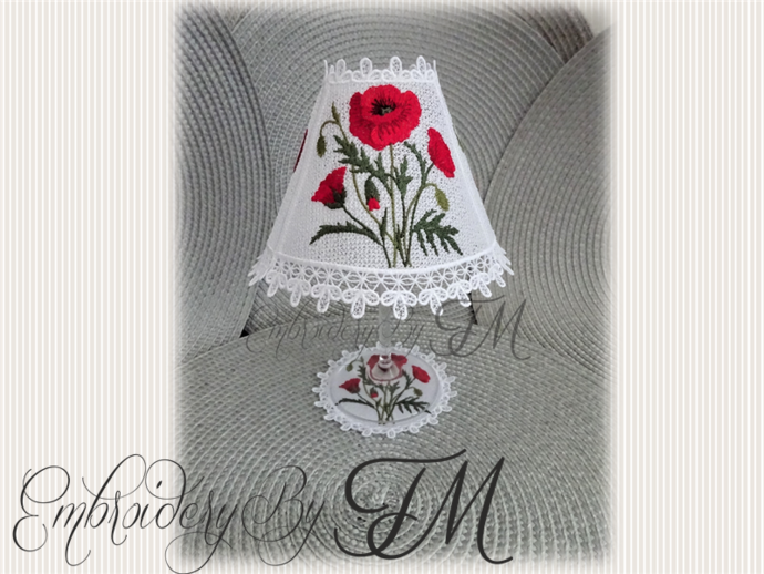 WINE GLASS SHADES Poppies + COASTER / 5X7 HOOP