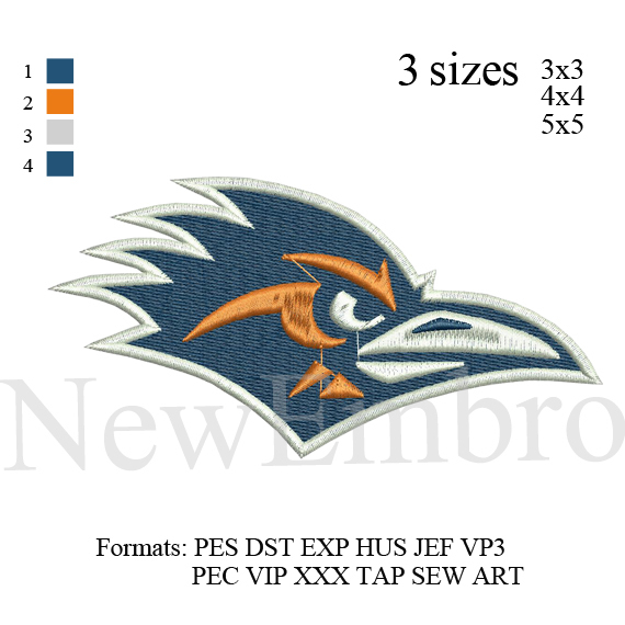 Custom embroidery design UTSA logo,  embroidery design embroidery pattern No 243