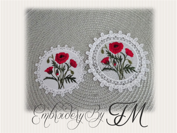 COASTER WITH Poppies/TWO SIZES/two variants