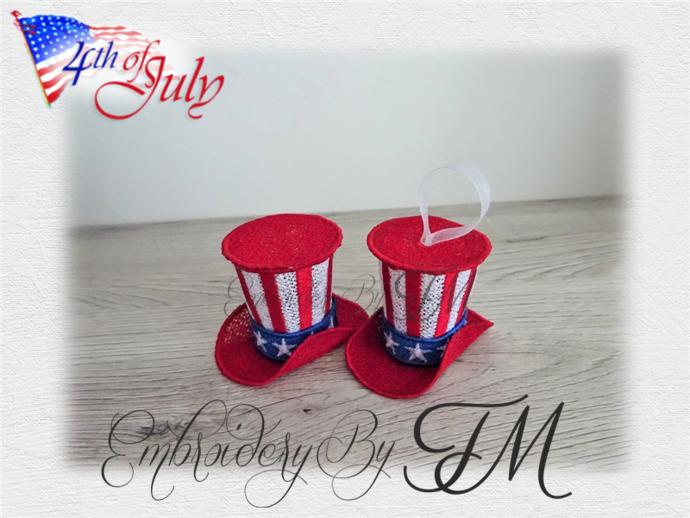 4TH OF JULY - HAT/ 5X7 HOOP