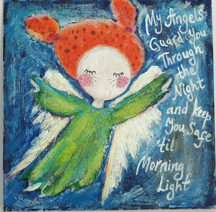 Angel Painting Wall Art Nursery Decor by AbstractArtByMarisol on