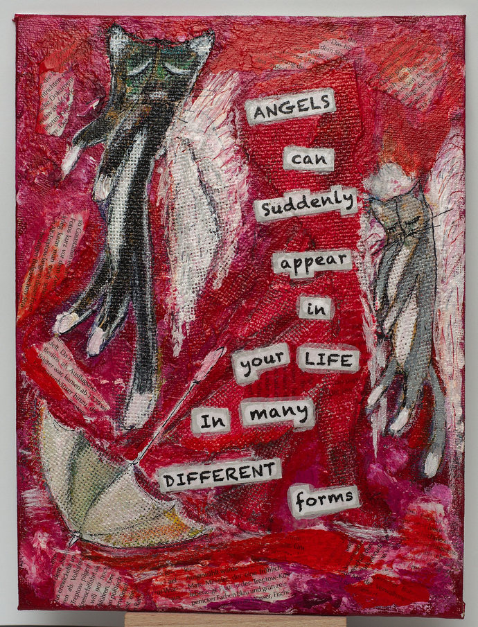 Angel Painting Art, Wall Home Art Decor, Abstract Mixed Media Collage Art, Hand