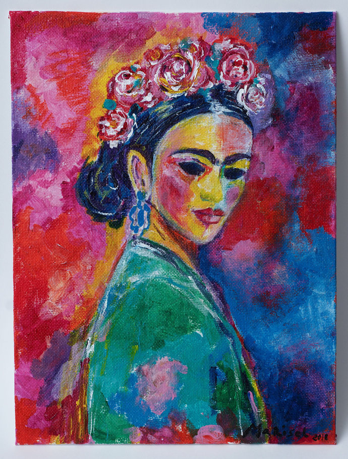 Frida Kahlo Original painting Abstract wall art Colorful Portrait Painting Home
