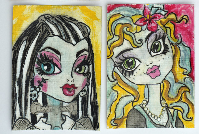 Original ACEO Painting Drawing Mixed Media Acrylic Watercolor, Monster High