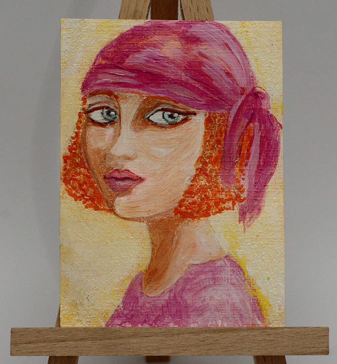 ACEO Original Abstract Acrylic Painting, Cute Female Woman Portrait, Blue eyes