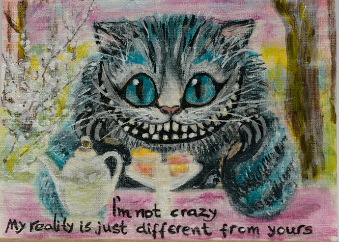 ACEO Original PAINTING, Cheshire Cat, Miniature Abstract Acrylic Art, Artist