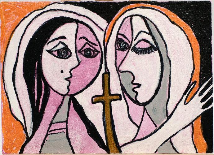 ACEO Original Abstract Acrylic Painting Miniature Religious Art Nuns Women