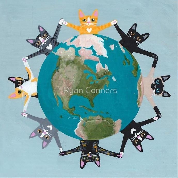 Happy Earth Day Cats Folk Art Print 8x8, 10x10, 12x12