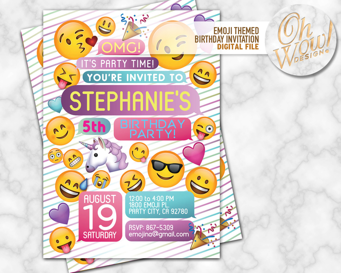 Emoji Party Invitation Digital File