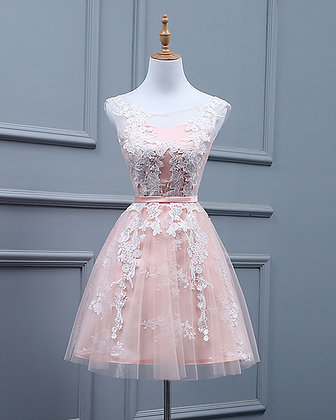 Light Pink Short Tulle Teen Party Dress with Lace, Pink Party Dress , Short mini