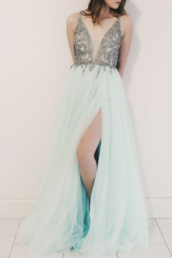 Spaghetti Straps V-Neck Beaded Long Prom Dress,A-Line Green Evening Dress Party