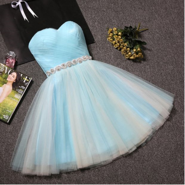 Cute Off Light Blue Short Sweetheart Prom Dress, Tulle Homecoming Dresses,
