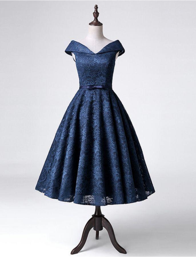 Beautiful Navy Blue Tea Length Lace Bridesmaid Dresses, Charming Party Dresses,