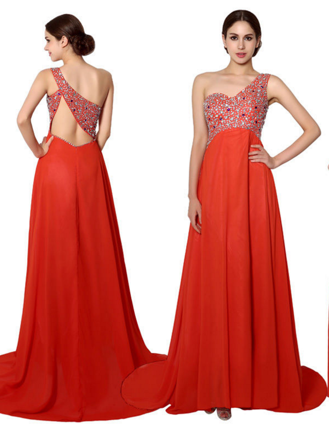 5a6d1ebc524 Sexy One Shoulder Prom Dress,Open Back Beaded Top Long Chiffon Prom Dresses ,A