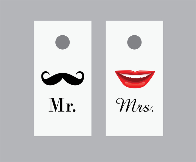 "2 Corn Hole Game Board Decals 24"" x 48"" - Mr. and Mrs."