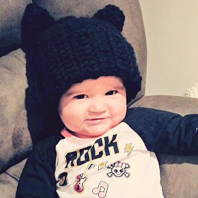 Baby Kitty Cat Crochet Hat