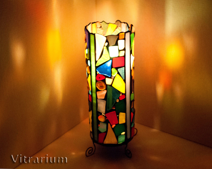 "Candle Holder stained glass ""Kaleidoscope"", fused glass, candlestick, stained"