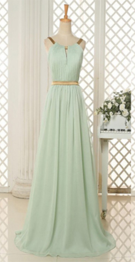 Simple A-line Scoop Long Mint Green Prom by prom dresses on Zibbet
