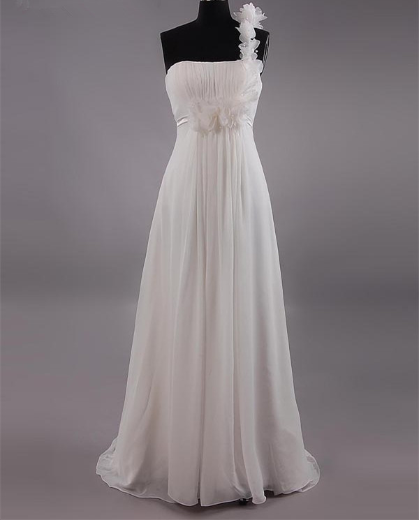 One Shoulder A Line Wedding Gown Chiffon Evening Dress Prom Dress Custom Made