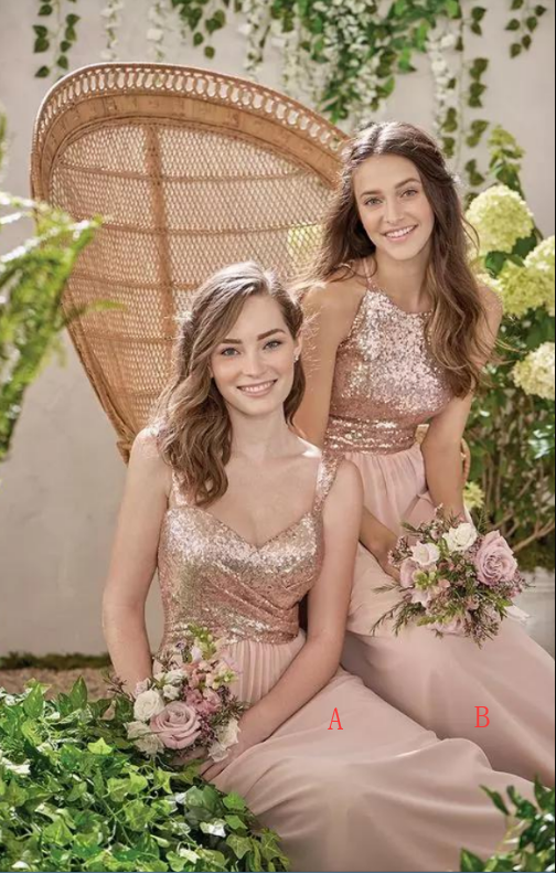 New Rose Gold Bridesmaid Dresses A Line Spaghetti Backless Sequins Chiffon Cheap