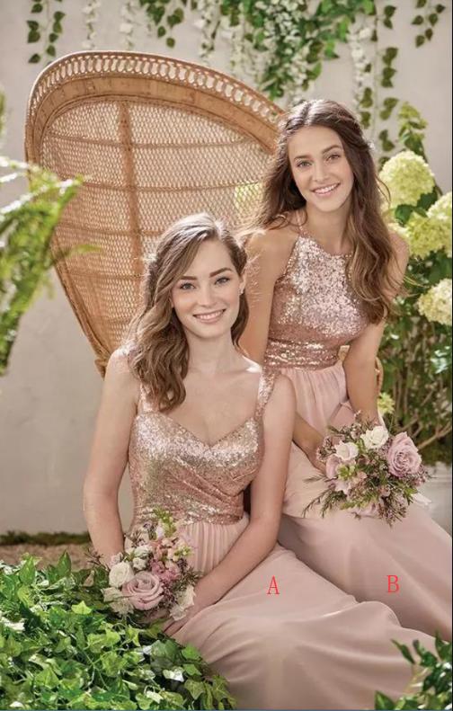 4d748cc4ecd New Rose Gold Bridesmaid Dresses A Line Spaghetti Backless Sequins Chiffon  Cheap