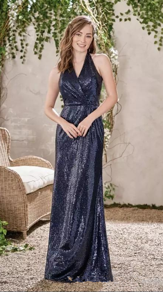 New Bridesmaid Dresses Navy Blue Sequined Wedding Guest Dress Halter Backless
