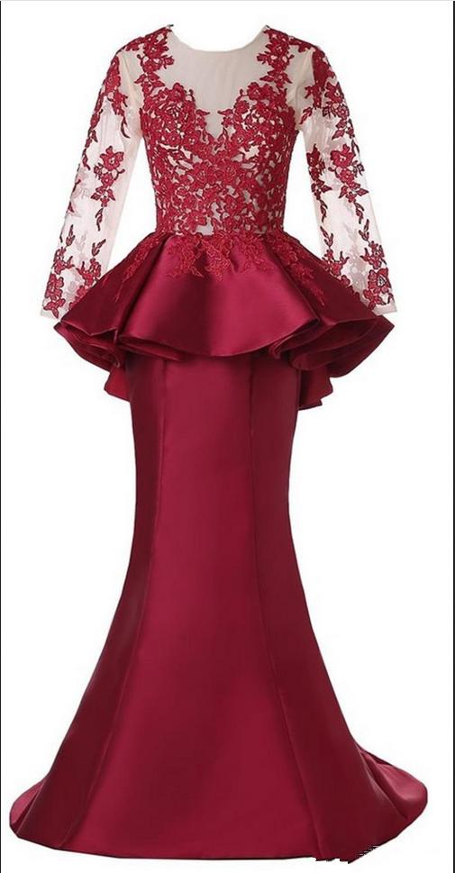 Red Long Sleeve Scoop Mermaid Evening Dresses Satin Appliques Ruffles Celebrity