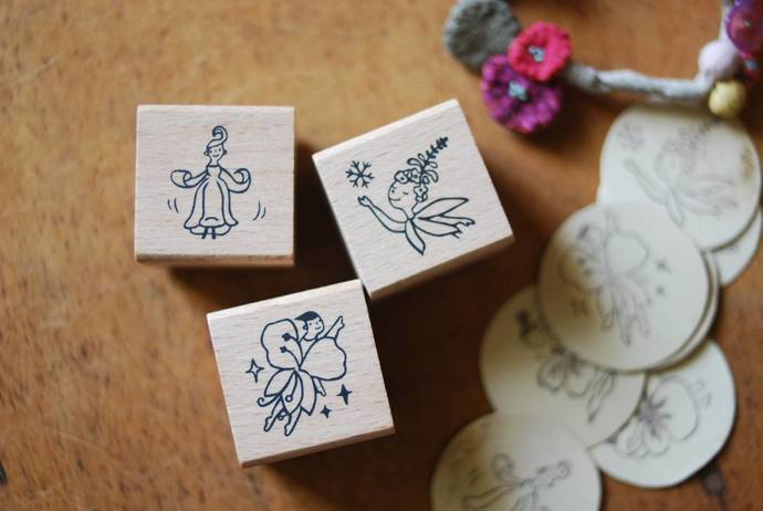 Evakaku stamps - flower girl wooden stamps from Taiwan - perfect for Travelers