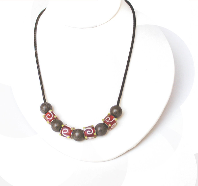 SOLD Interchangeable Beaded necklace,red glass and hematite metal beads,