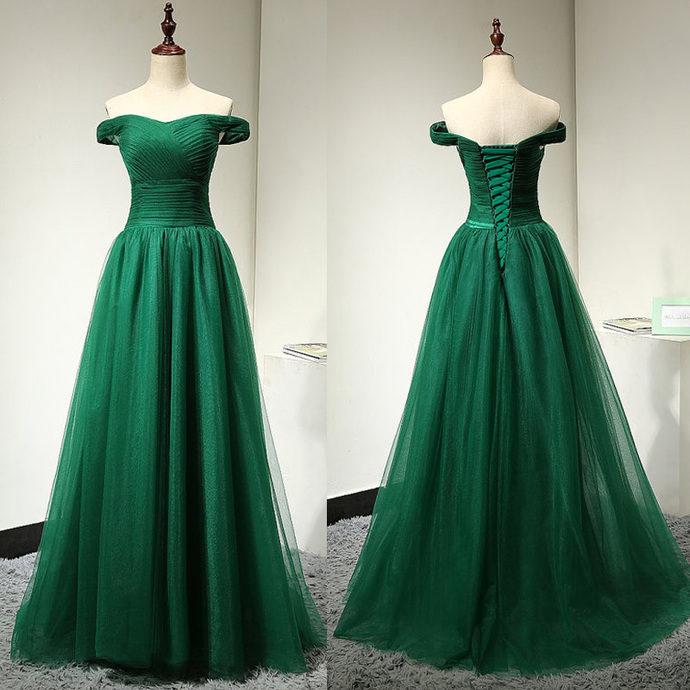 Off Shoulder Sleeves Green Prom Dress,Green Tulle Graduation Dress,Sexy Off
