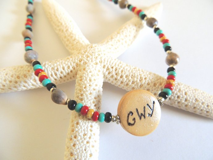 Cherokee Pride Cherokee Language Corn Bead Necklace